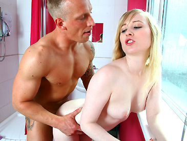 Blonde slut pounded in the bathroom