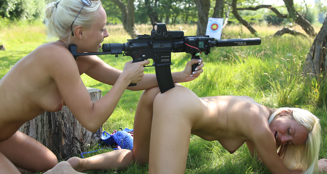 Bad ass girls naked shooting guns, how deep is the vagaina