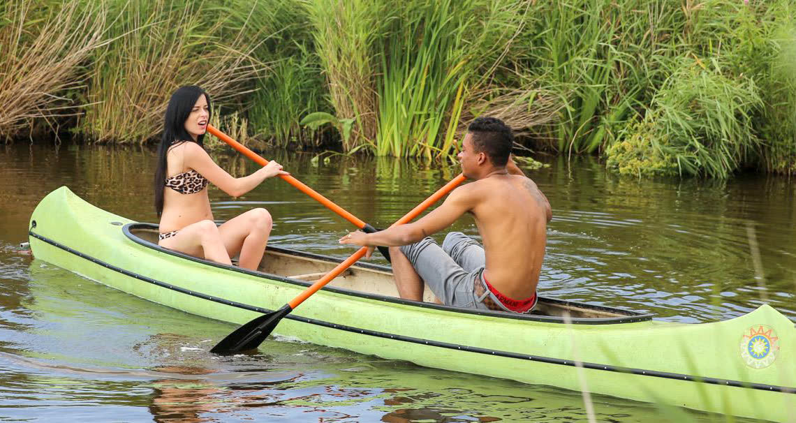 Romantic canoe ride