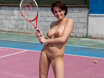 Busty tennis babe