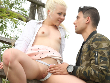 Sweet Anna Rey gets her tight pussy fucked outdoors