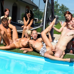 Group of naughty young friends having fun