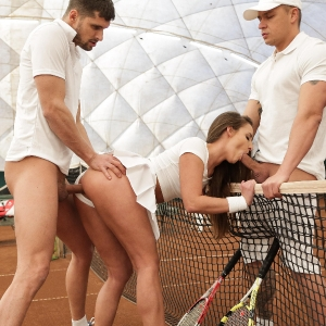 Amira sucking 2 cocks at the tennis court