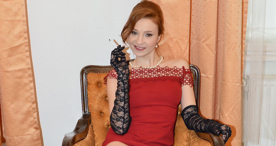 Red Head In Red Dress