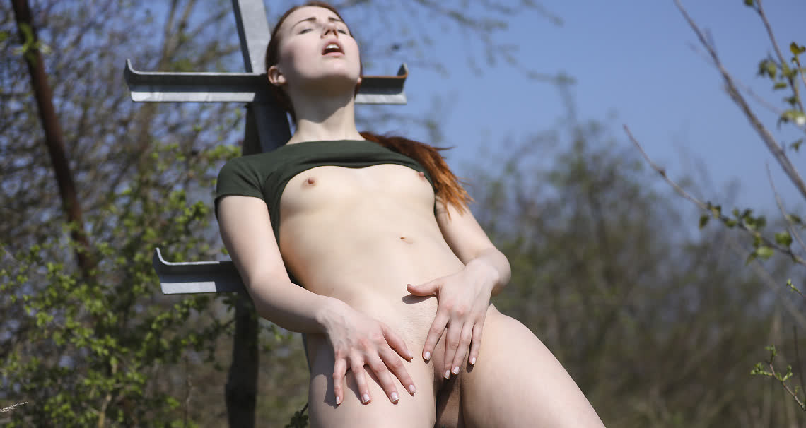 Cute redhead with tiny tits masturbating outdoors