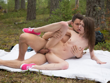 Skinny teen fucked in the woods